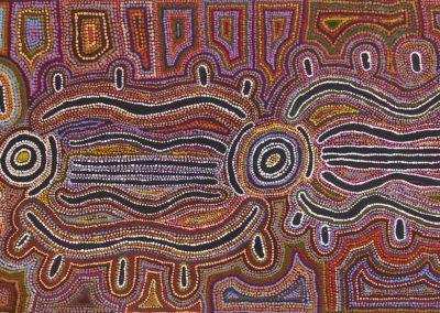 A01: Bessie Nakamarra Sims, Yarla Jukurrpa (Bush potato Dreaming) 2001, 61 x 183 cm