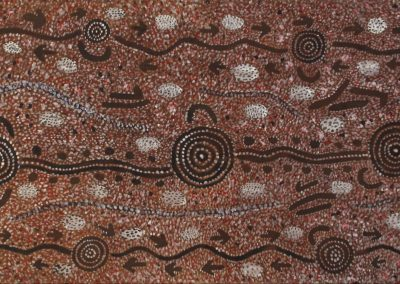 A02: Johnny Warangkula Tjupurrula, Water Dreaming at Kalinpinypa 1978, 83 x 178 cm*