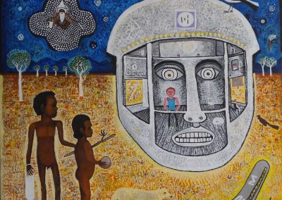 A Head of the Time: The First Contact 2009, 91 x 91 cm, Acrylic on Belgium Linen