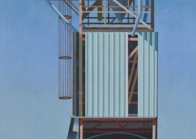 C11: Green chair and extractor tower 1988, 61.5 x 106.5 cm, oil on linen