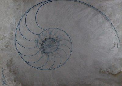 C06: Silver spiral, 183 x 137 cm, oil on canvas