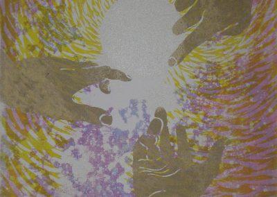 8A: Three hands raised towards the sun