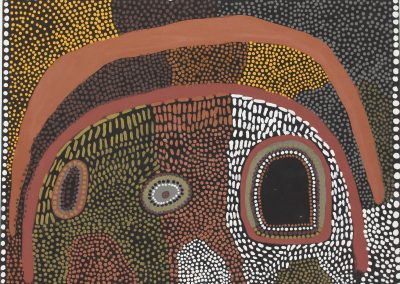 A09: Lena Nyadbi, Geminybany Cave 1999, 80 x 60 cm, Natural Earth Pigments on Linen, Warmun Art*