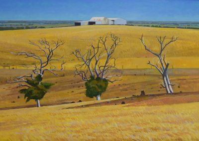 C10: Farm shed with three gums 2008, 92 x 61.5 cm, oil on linen